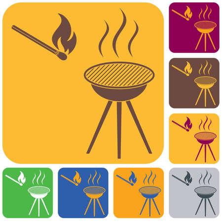 Barbecue icon set Illustration