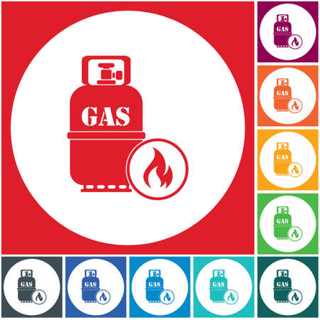 Camping stove with gas bottle icon in multi-color background. Vector illustration Vectores
