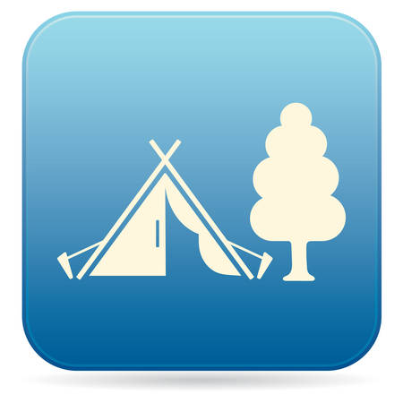 Stylized icon of tourist tent in monochrome illustration.