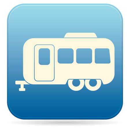 Camping trailer icon in monochrome illustration.