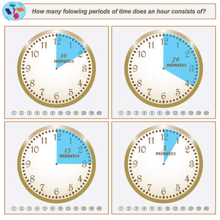 Logical task.How many folowing periods of time does an hour consists of. Vector illustration