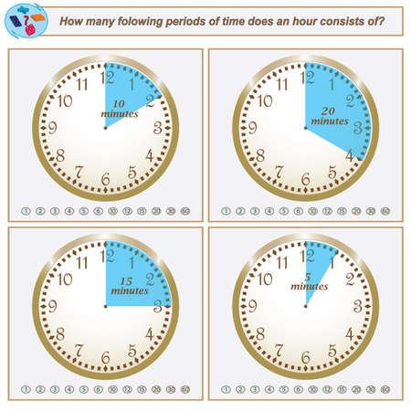 Tarea lógica: en cuántos períodos de tiempo siguientes consta una hora. Ilustración vectorial Ilustración de vector