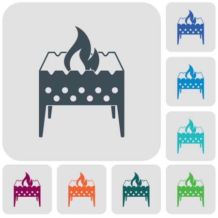 Camping brazier icon Vector illustration set Illustration