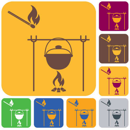 Fire and pot icon. Vector illustration. Stock Vector - 100980253