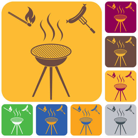Barbecue sausage icon. Vector illustration.