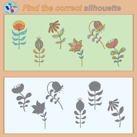 Find the correct silhouette game with pictures of colorful images for children, task for the development of logical thinking. Vector illustration
