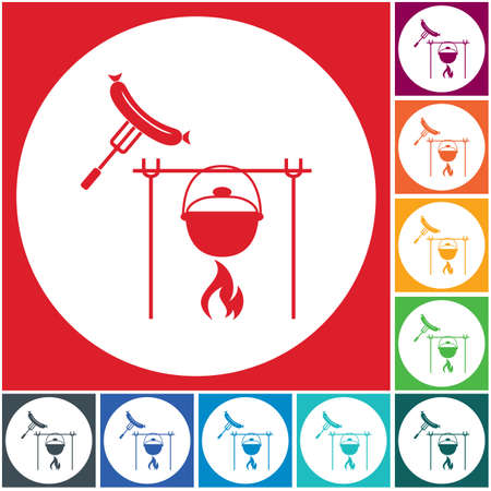 Fire, pot and sausage icon. Vector illustration. Stock Vector - 101063168