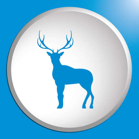 Silhouette of the deer. Flat deer icon in white circle. Vector illustration.