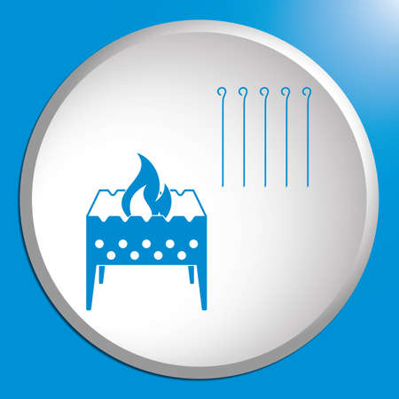Camping Brazier icon in white circle. Vector illustration.