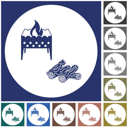Brazier and firewood icon vector illustration.