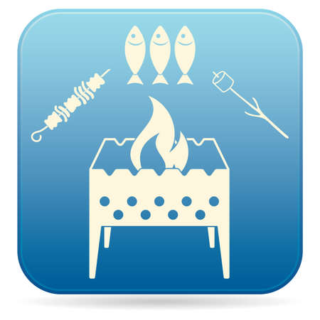 Brazier zephyr, kebab and fish icon. Vector illustration