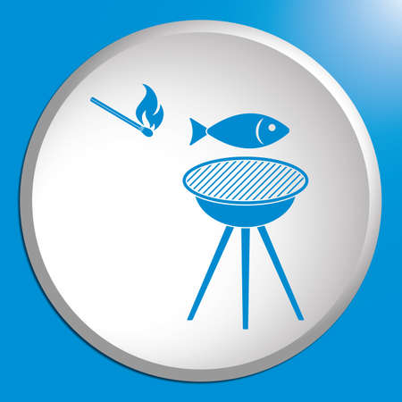 Grilled fish icon. Vector illustration