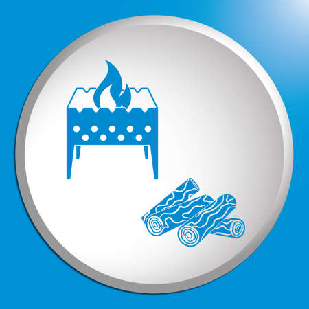 Brazier and firewood icon. Vector illustration