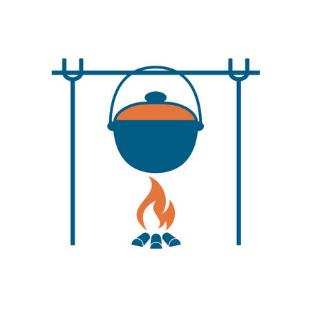 Fire and pot icon. Vector illustration.