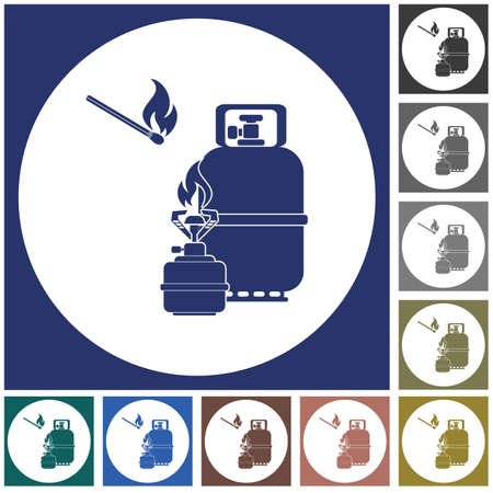 Camping stove with gas bottle icon vector. Vector illustration. 스톡 콘텐츠 - 101928940