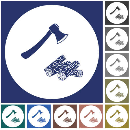 The ax and firewood icon. Flat Vector illustration