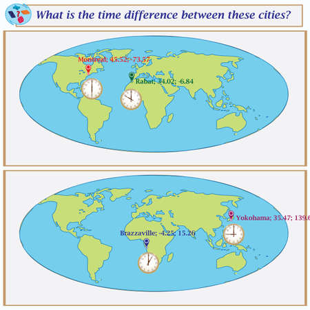 Logical task.What is the time difference between these cities? Vector illustration