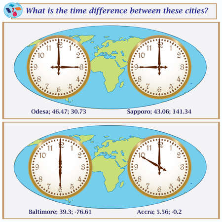 Logical task.What is the time difference between these cities? Vector illustration Banco de Imagens - 102550516