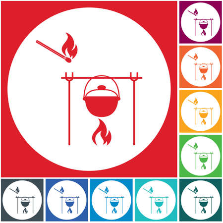 Fire and pot icon. Vector illustration. Stock Vector - 102550668
