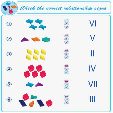 Logical task. Check the correct relationship signs. Vector illustration Illustration
