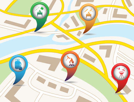 Set of tourism services map pointers on map. Vector illustration Vectores