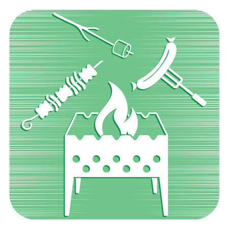 Brazier, grill, kebab and sausage icon. Vector illustration