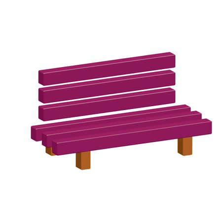 Outdoor park wooden bench vector 3D icon glyph Illustration