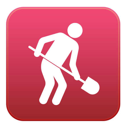 Digger with shovel icon. Vector illustration Stock Illustratie
