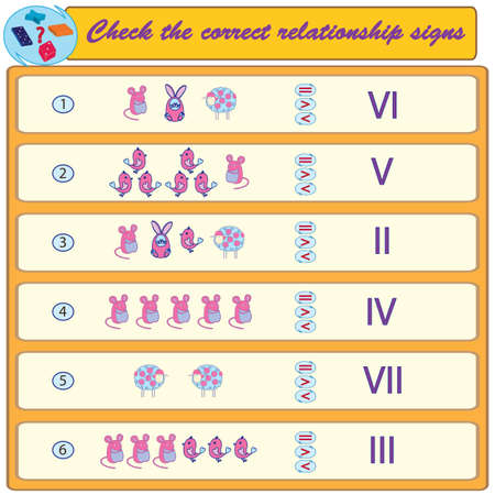 Logical task. Check the correct relationship signs. Vector illustration Vettoriali