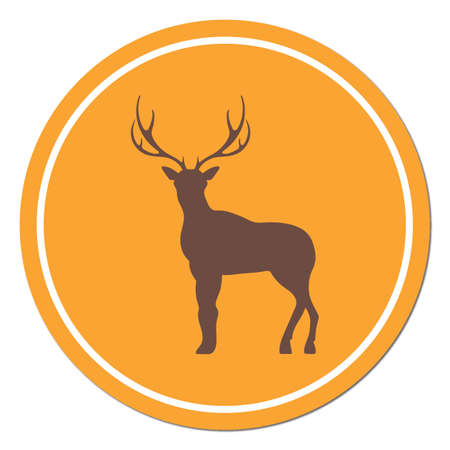 Silhouette of the deer. Flat deer icon.