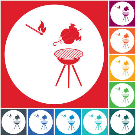 barbecue grill with chicken icon. Vector illustration Stock Vector - 103372156