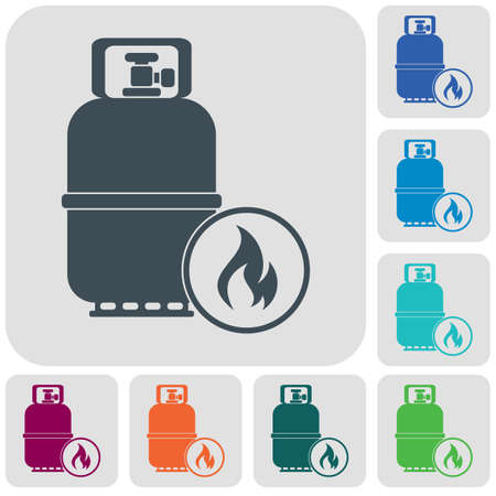 Camping gas bottle icon. Flat icon isolated. Vector illustration Vectores
