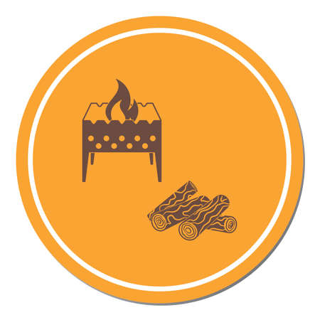 Brazier and firewood icon. Vector illustration Stock Vector - 104202053