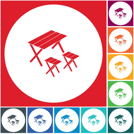 Camping table and stool icon. Vector illustration Banque d'images - 114893550