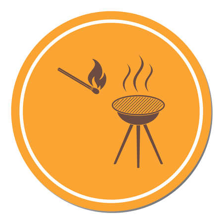 The barbecue icon. Flat Vector illustration Reklamní fotografie - 114782394