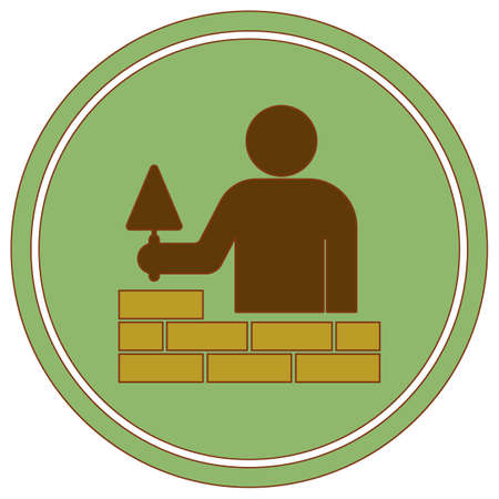 Brick layer tiler mason worker with trowel. Vector illustration Vettoriali