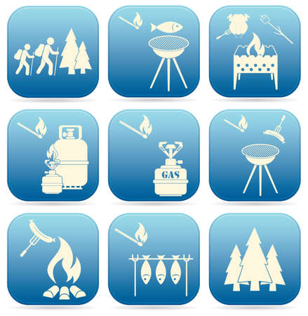 Set of travel and camping equipment icons. Vector illustration Illustration