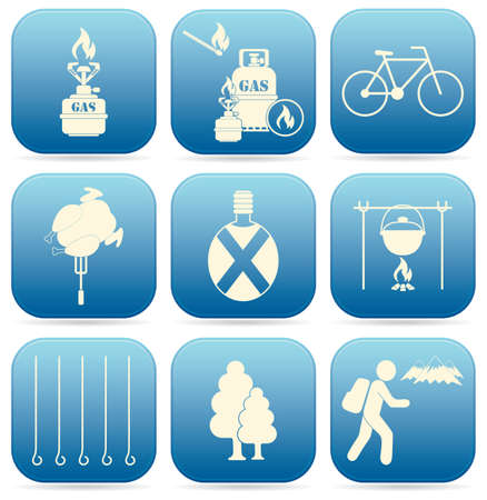 Set of travel and camping equipment icons. Vector illustration Иллюстрация