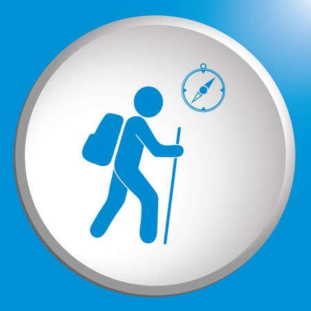 Wandern von Touristen mit Kompassikone. Vektor-illustration