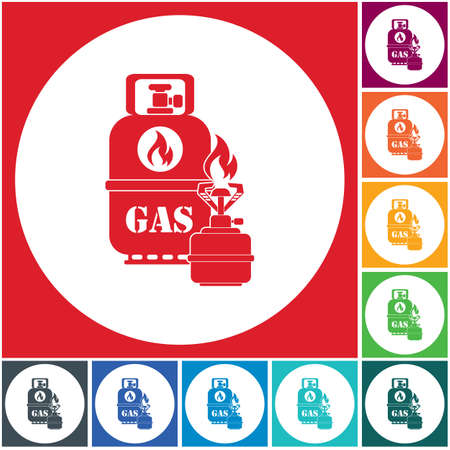 Camping stove with gas bottle icon. Vector illustration. 스톡 콘텐츠 - 112204047