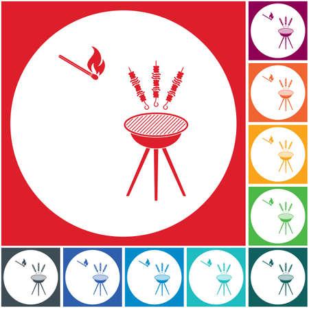 Grilled kebab icon. Vector illustration 일러스트