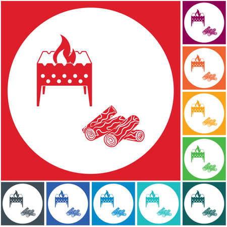 Brazier and firewood icon. Vector illustration Stock Vector - 112204054