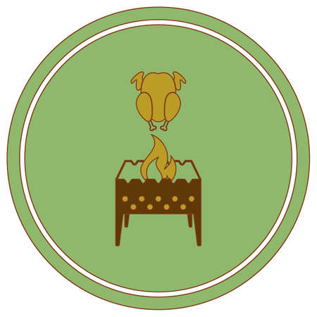 Brazier and chicken icon. Vector illustration 向量圖像