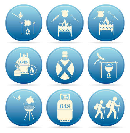 Set of travel and camping equipment icons. Vector illustration 矢量图像