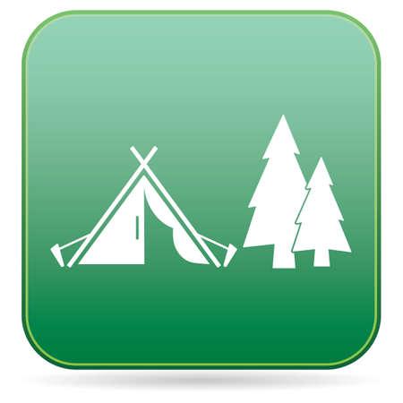 Icône stylisée de tente touristique. Illustration vectorielle Vecteurs