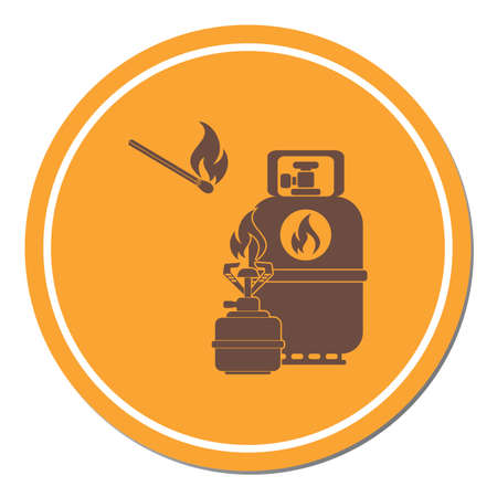 Camping stove with gas bottle icon vector. Vector illustration. 免版税图像 - 107005918