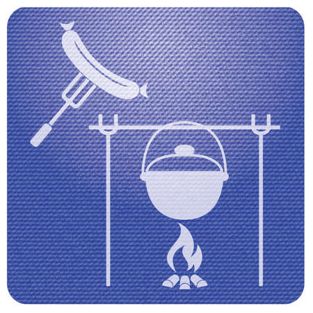 Fire, pot and sausage icon. Vector illustration.