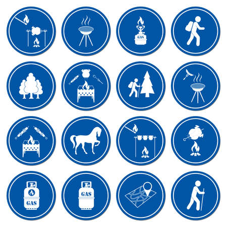 Set of travel and camping equipment icons. Vector illustration Vettoriali