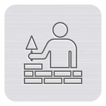 Brick layer tiler mason worker with trowel. Vector illustration