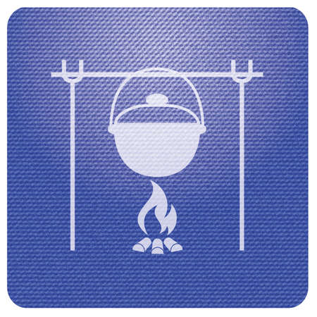 Fire and pot icon. Vector illustration. Stock Vector - 110043953